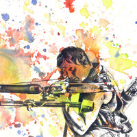 Walking Dead Daryl Dixon Poster Print From Original Watercolor Painting - 8 X 10 in. Print The Walking Dead Poster Print