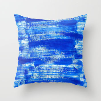 Cool & Calming Cobalt Blue Paint on White Throw Pillow by Perrin Le Feuvre