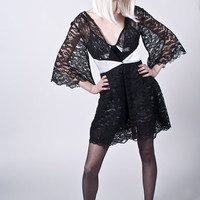 Memory Goddess Robe- Black and White, Vintage Lace and Hemp Silk, Eco Luxury Robe