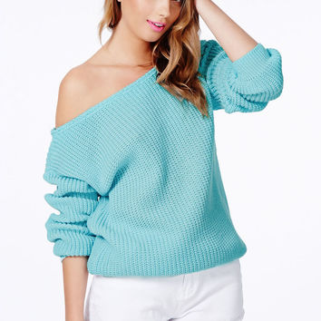 Strapless Oblique Hem Cuff Long Sleeves Knitted Sweaters