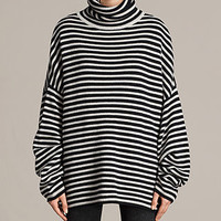 ALLSAINTS US: Womens Marcel Funnel Sweater (INK/ECRU WHITE)