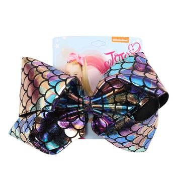 "8"" Mermaid Hair Bows With Clips For Kids Girls Boutique Printed Metallic Leather Ribbon Bows Hairgrips Children Hair Accessories"