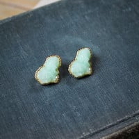 Druzy Earring in Mint and Gold