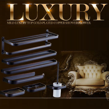 Luxury European Style Antique Wall Mounted Black Brass Bathroom Wall Stand Towel Rack ShelfStorageToilet Brush For Home