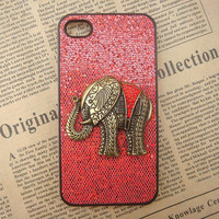 Steampunk Elephant Red bling glitter hard case For Apple iPhone 4 case iPhone 4s case