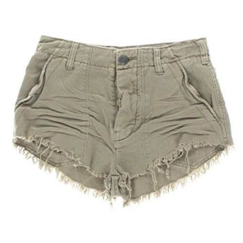 Free People New Women's Raw and Patched Standoff Short Cotton Soft Natural