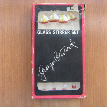 Glass sailboat swizzle stir sticks by Georges Briard vintage