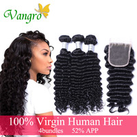 Online Shop 8A Brazilian Virgin Hair Deep Wave with closure human hair weave 3 Bundles Cheap Brazilian Curly Virgin Hair Brazilian Deep Wave | Aliexpress Mobile