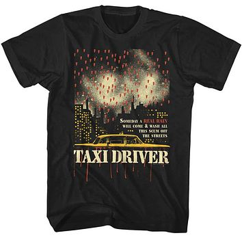 Taxi Driver Tall T-Shirt Someday a Real Rain Black Tee