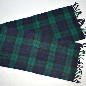 Vintage Plaid / Tartan Wool Scarf - Long / Warm / Fringe -Scotland -  Retro Accessory - Great Holiday / Birthday Gift - esate sale find