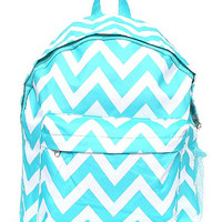 Monogrammed Backpack Aqua Chevron Girls Bookbag