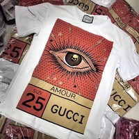 """Gucci"" Women Casual Personality Eye Letter Pattern Print Round Neck Short Sleeve T-shirt Top Tee"