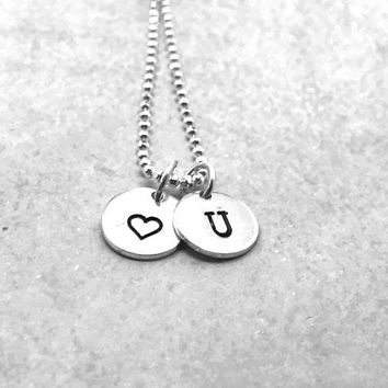 Love You Necklace, Sterling Silver, Letter U Initial Necklace with Heart Charm, All Letters Available, Hand Stamped Jewelry, Heart U