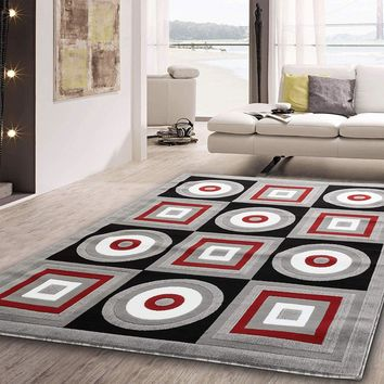 2107 Gray Red Geometric Contemporary Area Rugs