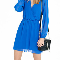 Blue Long Sleeve Surplice Dress from EXPRESS