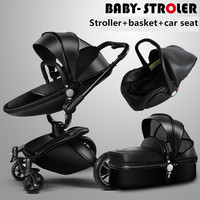 2017 new Brand baby strollers 3 in 1 leather baby pram AULON Europe baby car seat basket leather bassinet Golden frame Gifts
