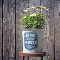 Rustic Acme Ice Cream Freezer Bucket, Rustic Plant Container, Salvaged Ice Cream Freezer Base, Farmhouse Decor, Summer Garden, Vintage Tins