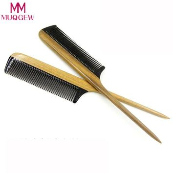 New Horn Comb Wood Handle Hair Comb Large Fine Tooth Handmade Hair Brush Tip Tail Comb Green Sandalwood Fight Horns Comb