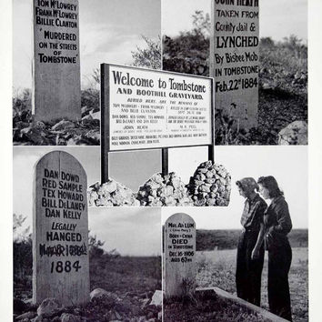 1941 Print Tombstone Boothilll Graveyard Tom McLowrey Cemetery Lynched YAH1