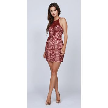Halter Fitted Short Homecoming Dress Cut-Out Back Burgundy