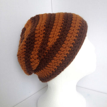 Brown Slouch Beanie, Stripy Brown Beanie, Unisex Winter Hat, Hand Crocheted, Dark Brown and Tan, Thick Cosy Hat,  Mens Slouchy Hat