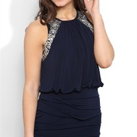 Blouson Dress with High Neckline, Stone Shoulders and Banded Bottom