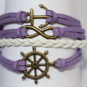 TRANQUIL~ Handmade Ship Wheel Infinity Anchor Bracelet Purple White Leather Multilayer Bracelet Bronze Charm Bracelet ilovecheesygrits