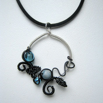 Necklace, Black and Blue