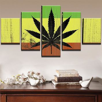 Marijuana Colorful Wood Look Canvas