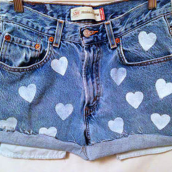 High Waisted Denim Shorts Heart Women's Cutoffs Hipster Shorts Cuffed High Waist Jean Shorts Tumblr Fashion Teen Girl Clothing