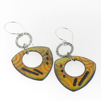 Yellow and Orange Enamel Handmade Earrings