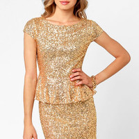 Champagne Dame Brilliant Gold Sequin Dress