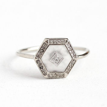 Rock Crystal Quartz Ring - Antique 10k White Gold Hexagonal Fine Jewelry - Vintage 1920s Size 7 Flower Art Deco Diamond Camphor Glass