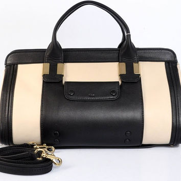 Chloe Alice Tote in Black & Cream Leather