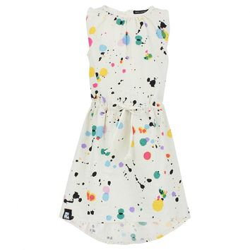 Mini & Maximus Girls Sleeveless Cream Multi Paint Splatter Dress | AlexandAlexa