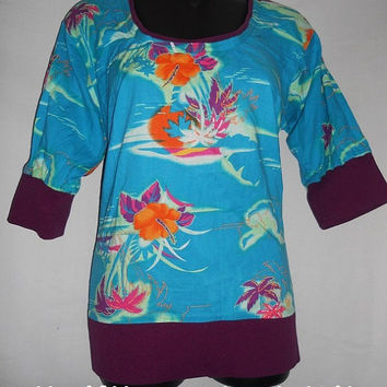 Vintage 80s Handmade Tropical Beach Pullover Floral Shirt 3 quarter sleeve Purple Blue