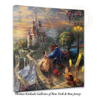 "BEAUTY AND THE BEAST - Thomas Kinkade Disney 14"" x 14"" Gallery Wrapped Canvas"
