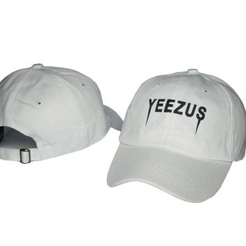 Kanye West Yeezus Mens Womens White Strapback Hat Cap Baseball Cap Embroidery Fitted Trucker Sun Hat