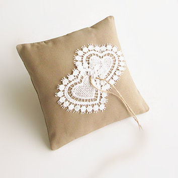 "Lace Ring Pillow, 7x7"" Rustic Ring Bearer, Lace Ring Pillow, Burlap Wedding Ring Pillow, Heart."