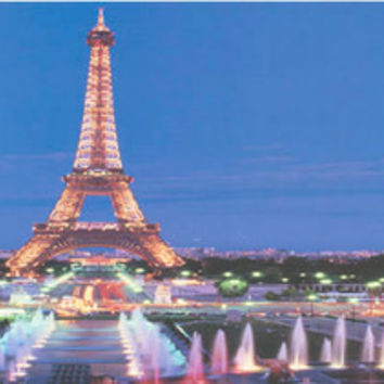 Paris Eiffel Tower at Night Poster 12x36