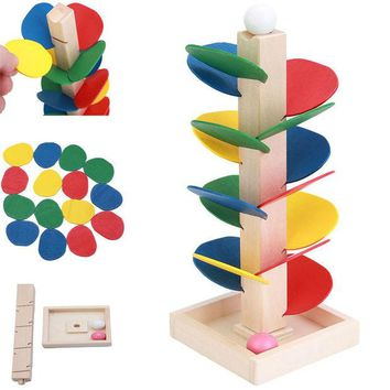 DCCKL72 Montessori Educational toy Blocks Wooden Tree Marble Ball Run Track Game Baby Kids Children Intelligence Early Educational Toy
