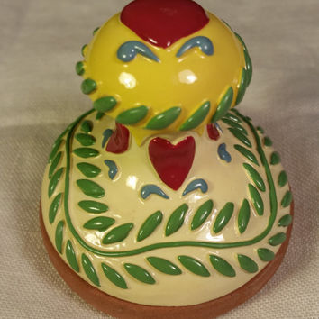 Heart Cookie Art Stamp Mold Press Butter Cookie Press Soap Candle Stoneware Ceramic Red Heart Yellow Green Leaves Red Clay Press Stamp
