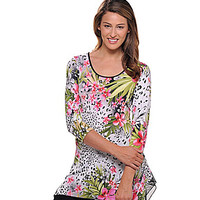 Peter Nygard Plus Animal and Floral Tunic - Black/White