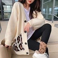 Womens Cardigan with Leopard Print