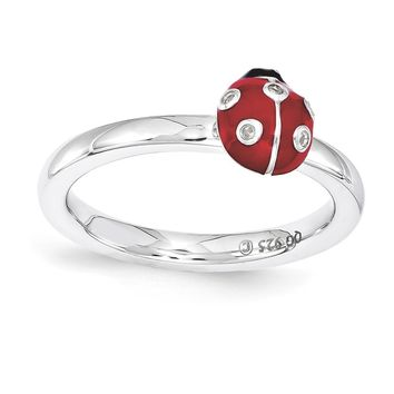 Sterling Silver Stackable Expressions Red & Black Enamel w/Diamond Ring
