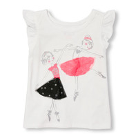 Toddler Girls Short Flutter Sleeve Embellished Graphic Top