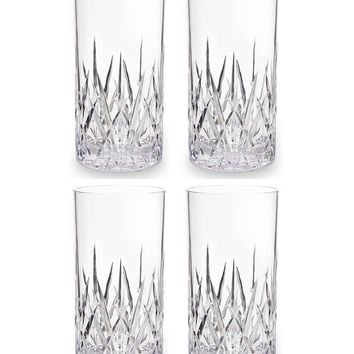 'Aurora' Crystal Cut Acrylic Highball Glasses (Set of 4)