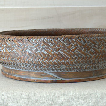 Wood and Rattan Basket, Woven Round Centerpiece Basket, Round Bowl Basket, Boho Basket
