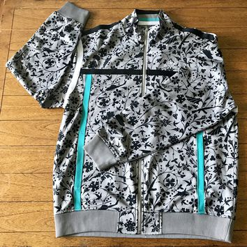 ENYCE Men's Full Zip Gray Print Athletic Track Jacket, Size XL