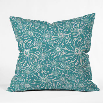 Heather Dutton Bursting Bloom Peacock Throw Pillow